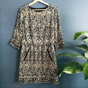 THML Black and Cream Printed Dress with Pockets